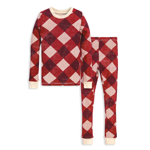 Burt's Bees Abstract Argyle Tee & Pant PJ Set - Cranberry