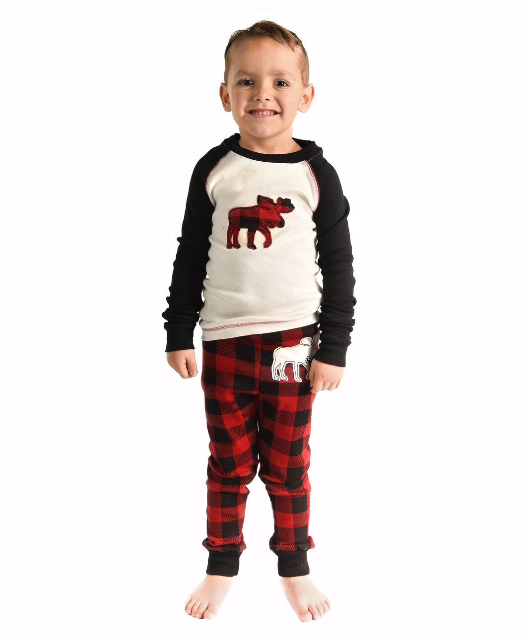 Lazy One Moose Plaid Kid PJ Set - Bloom Kids Collection - Lazy One
