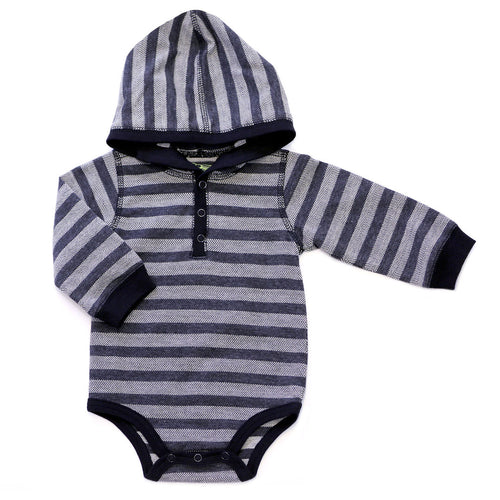 Kapital K Herringbone Stripe Hooded Bodysuit - Salt N Pepper - Bloom Kids Collection - Kapital K