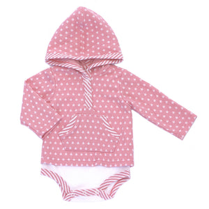 Kapital K Hooded Bodysuit - Pink Stars - Bloom Kids Collection - Kapital K