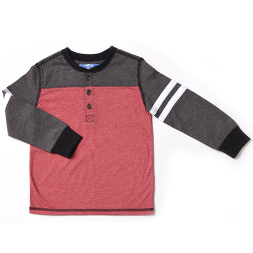 Kapital K Color Blocked Henley - Lava - Bloom Kids Collection - Kapital K
