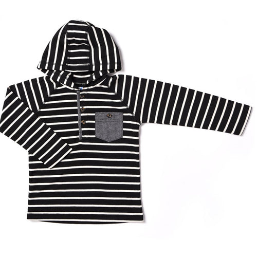 Kapital K Thermal Hooded Henley - Black Stripe - Bloom Kids Collection - Kapital K