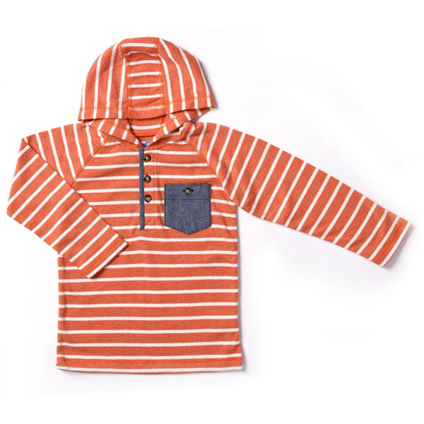Kapital K Thermal Hooded Henley - Orange Stripe - Bloom Kids Collection - Kapital K