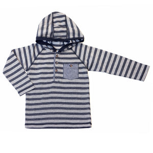 Kapital K Herringbone Hooded Shirt - Black Pepper Stripe - Bloom Kids Collection - Kapital K