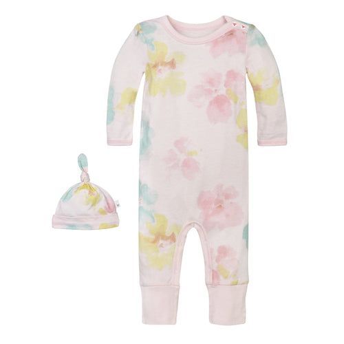 Burt's Bees Ruffle Coverall & Hat Set - Morning Glory