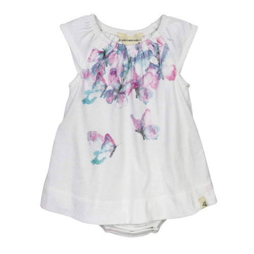 Burt's Bees Cascading Butterflies Bodysuit Dress - Cloud