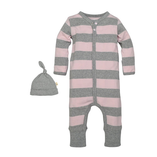 Cotton Rugby Stripe Coverall & Hat Set - Blossom
