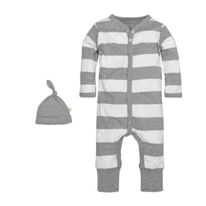 Burt s Bees Rugby Stripe Coverall   Hat Set - Heather Grey - Bloom Kids  Collection - 1d81503dc4e4