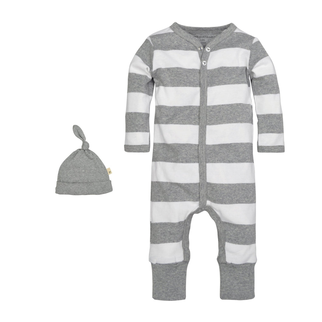 Burt's Bees Rugby Stripe Coverall & Hat Set - Heather Grey - Bloom Kids Collection - Burt's Bees