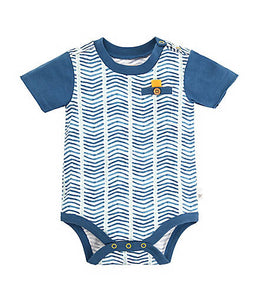 Burt's Bees Chevron Bodysuit - Blue Star - Bloom Kids Collection - Burt's Bees