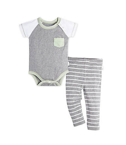 Burt's Bees Pocket Raglan Bodysuit & Pant Set - Heather Grey - Bloom Kids Collection - Burt's Bees