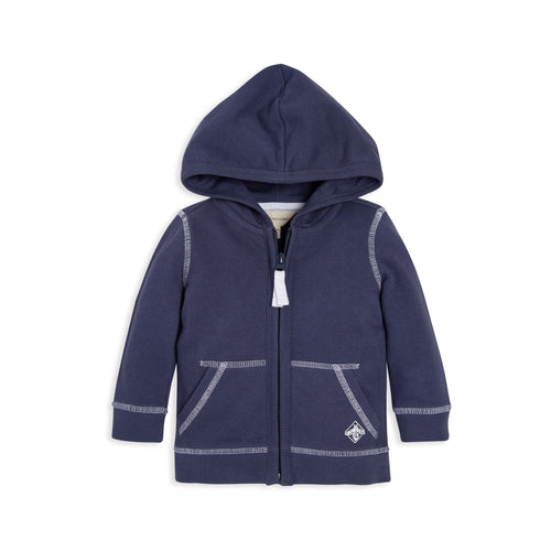 Burt's Bees Loose Pique Zip Hoodie - Indigo - Bloom Kids Collection - Burt's Bees