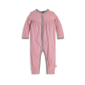 Burt's Bees Hexagon Pointelle Jumpsuit - Persian Rose - Bloom Kids Collection - Burt's Bees
