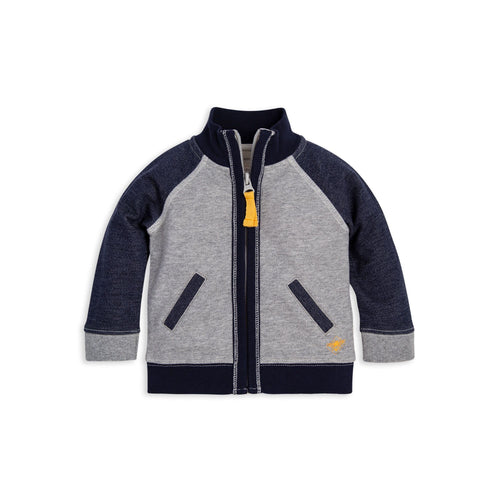 Burt's Bees Two Tone French Terry Zip Front Jacket - Heather Grey