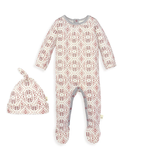 Burt's Bees Joyful Fair Isle Jumpsuit & Knot Top Hat Set - Cranberry - Bloom Kids Collection - Burt's Bees