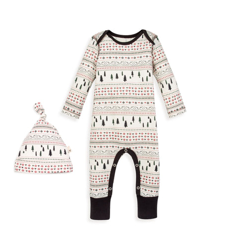 Burt's Bees Sleigh Ride Fair Isle Jumpsuit & Knot Top Hat Set - Ivory - Bloom Kids Collection - Burt's Bees