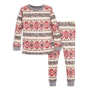 Burt's Bees Aspen Cabin Motif Tee & Pant PJ Set - Heather Grey