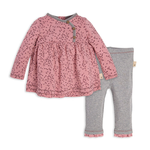 Burt's Bees Little Seedlings Tunic & Pant Set - Persian Rose - Bloom Kids Collection - Burt's Bees