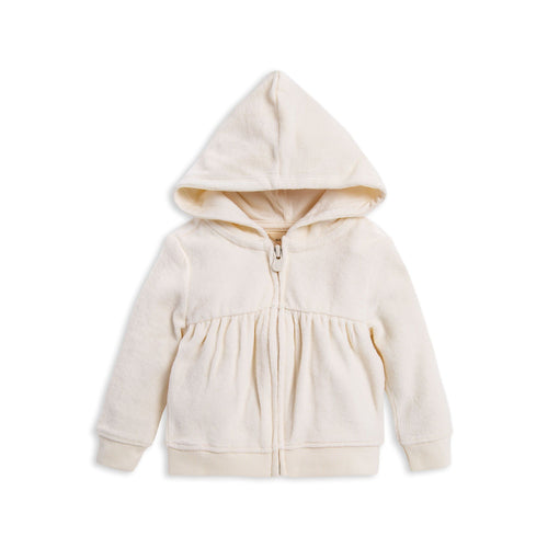 Burt's Bees Velour Gathered Jacket - Ivory - Bloom Kids Collection - Burt's Bees
