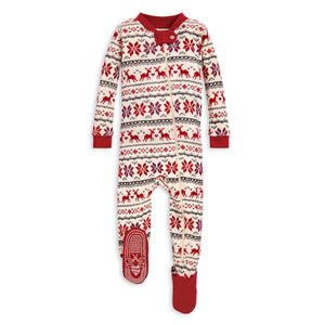 Burt's Bees Dashing Deer Fair Isle Sleeper - Cranberry - Bloom Kids Collection - Burt's Bees