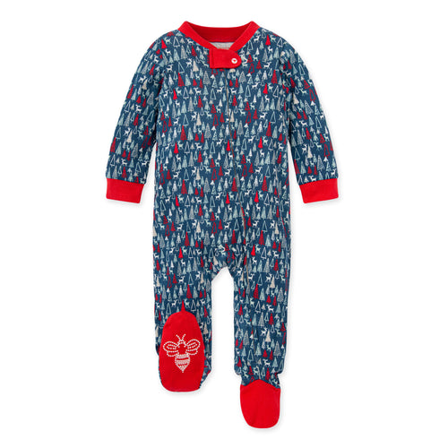 Burt's Bees Forest Frenzy Organic Baby Loose Fit Footed Holiday Pajamas - Harvest Tomato