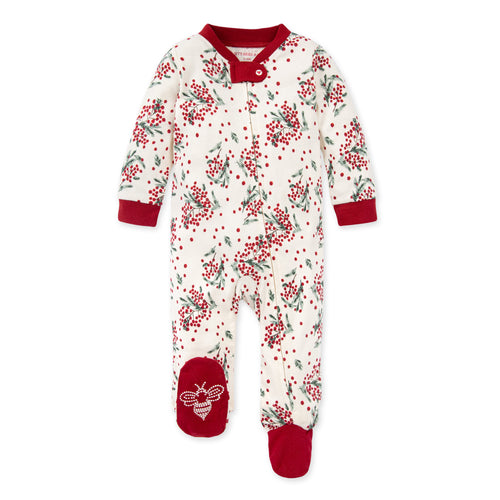 Burt's Bees Berry & Bright Organic Baby Loose Fit Footed Holiday Pajamas - Cranberry
