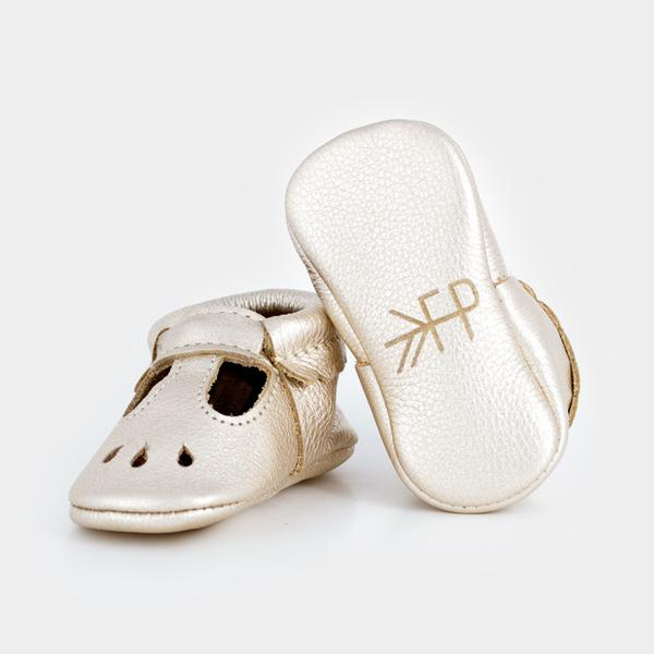 d1a495b13 ... Freshly Picked Platinum Mary Jane Moccasins - Bloom Kids Collection - Freshly  Picked ...