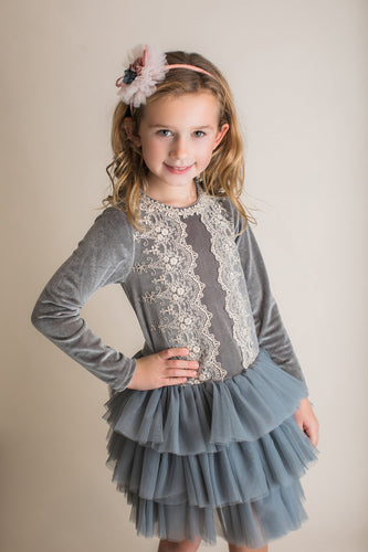 Maeli Rose Tulle Drop Waist Dress - Charcoal - Bloom Kids Collection - Maeli Rose