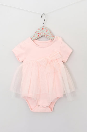 Maeli Rose SS Lace Skirt Onesie - Peach - Bloom Kids Collection - Maeli Rose