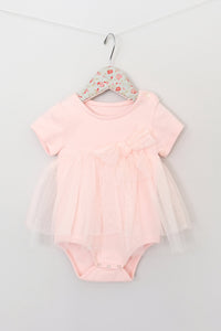 Maeli Rose SS Lace Skirt Onesie - Peach