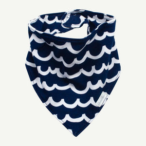 Oliver and Rain Wave Print Bandana Bib - Navy