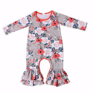 Ruffle Leg Romper - Coral - Bloom Kids Collection - Bloom Kids Collection