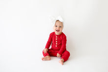 Posh Peanut Long Sleeve Henley Romper - Crimson Ribbed
