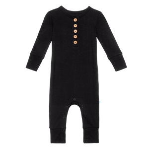 Posh Peanut Long Sleeve Henley Romper - Black Ribbed