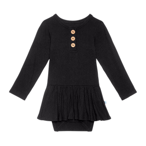 Posh Peanut Long Sleeve Henley Twirl Skirt Bodysuit - Black Ribbed