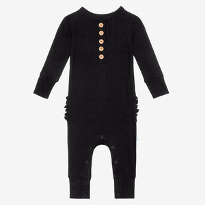 Posh Peanut Long Sleeve Ruffled Henley Romper - Black Ribbed
