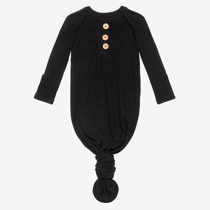 Posh Peanut  Wood Button Knotted Gown - Black Ribbed