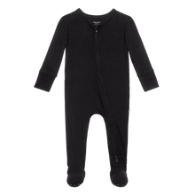Posh Peanut Footie Zippered One Piece - Black Ribbed