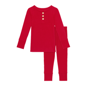Posh Peanut Long Sleeve Henley Loungewear - Crimson Ribbed