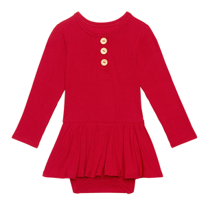 Posh Peanut Long Sleeve Henley Twirl Skirt Bodysuit - Crimson Ribbed