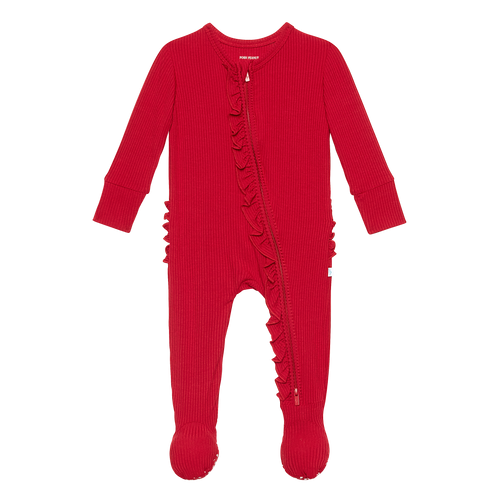 Posh Peanut Footie Ruffled Zippered One Piece - Crimson Ribbed
