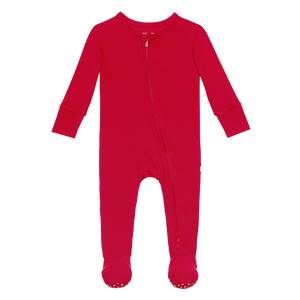 Posh Peanut Footie Zippered One Piece - Crimson Ribbed