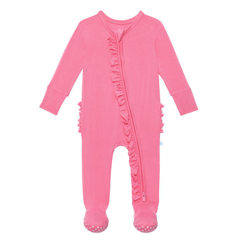 Posh Peanut Footie Ruffled Zippered One Piece - Pink Lemonade