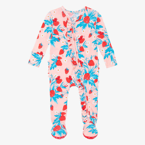 Posh Peanut Footie Ruffled Zippered One Piece - Strawberry