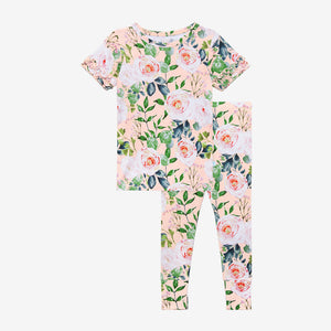 Posh Peanut Basic Short Sleeve Ruffled Loungewear - Harper