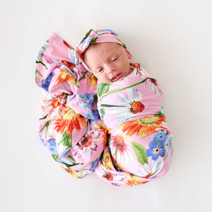 Posh Peanut Infant Swaddle and Headwrap Set - Kaileigh