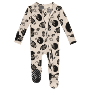 Posh Peanut Footie Zippered One Piece - Touchdown
