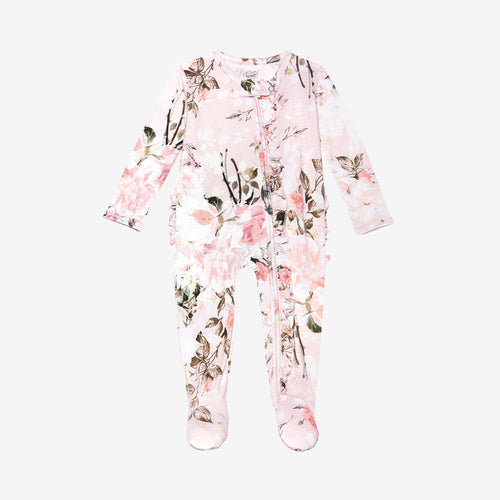 Posh Peanut Footie Ruffled Zippered One Piece - Vintage Pink Rose - Bloom Kids Collection - Posh Peanut