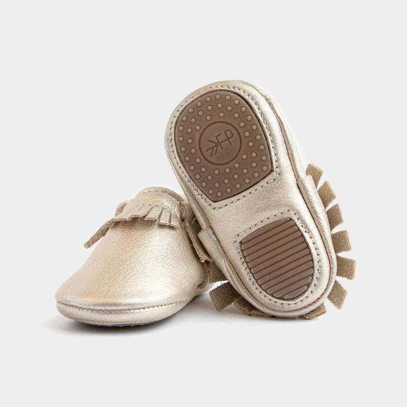 Freshly Picked Mini Sole Platinum Moccasins - Bloom Kids Collection - Freshly Picked
