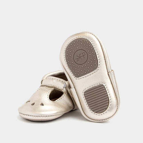Freshly Picked Mini Sole Platinum Mary Jane Moccasins - Bloom Kids Collection - Freshly Picked